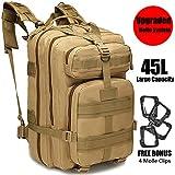 GNEGNI 45L Mochila Táctica de Asalto Militar Resistente al Agua Mochila Molle para Trekking Camping Senderismo Viajar(Caqui)
