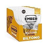 Ember Biltong – Original Beef Jerky - Cecina de Vaca - Aperitivo alto en Proteínas - Original (Paquete de 10)