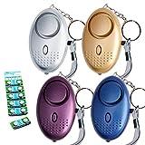 Tian 4 Packs 130DB Alarma Personal llavero de Emergencia con 12 Batería de botón LR44 Adicional - Alarma Seguridad Autodefensa con Luz LED para Mujeres, Niños, Ancianos (4 Packs, Multicolor)