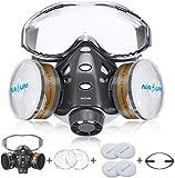 Facial Cubierta NASUM, Facial Cubierta Protectora, con Gafas Fijas / 2x Cubierta de Plástico / 4x Filtro de Algodón, Facial Cubierta de Polvo Reutilizable / Partículas / Vapor / Gas para Pulverización
