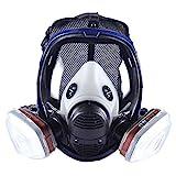Máscara de vapor orgánica 15 en 1 para pintura química, máscara de gas con doble filtro de carbón activado, máscara protectora contra el polvo (máscara completa con cartuchos de filtro n.º 3)
