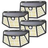 Luz Solar Exterior, SEZAC [310LED / 3 Modos] Focos Solar Exterior Jardin, 270º Ilumination Luz LED Solar Exterior con Sensor Movimiento, Apliques Exteriores Solares para Caminos de Garaje (4 Paquete)